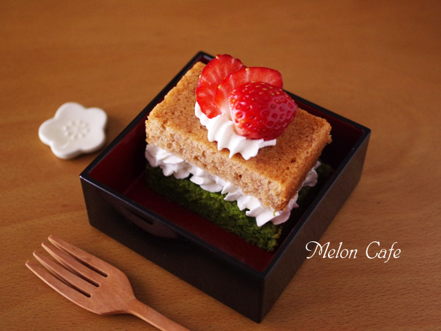 簡単パウンド生地でひなまつりの菱餅色ケーキ06