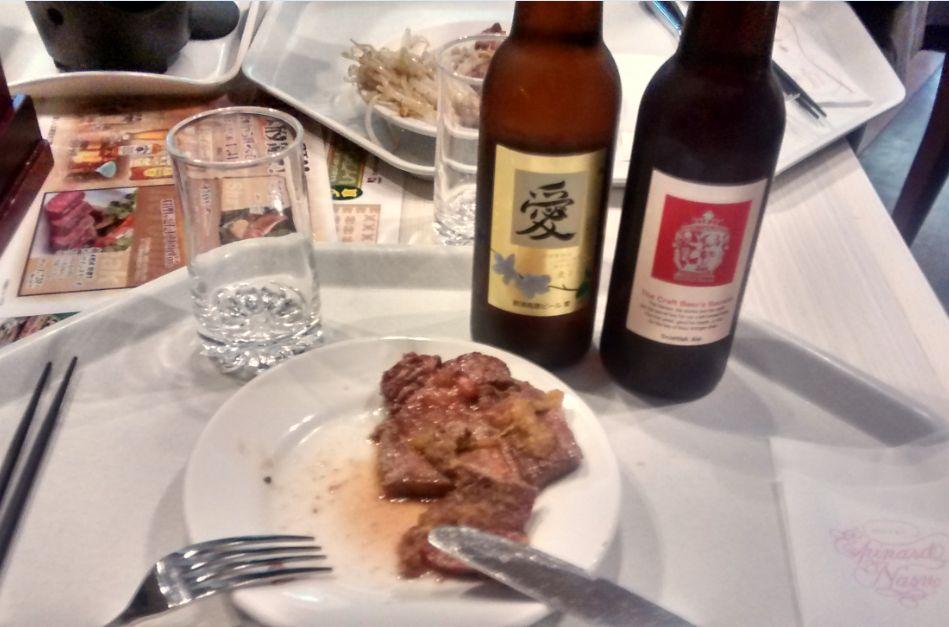 夕食と地ビール.