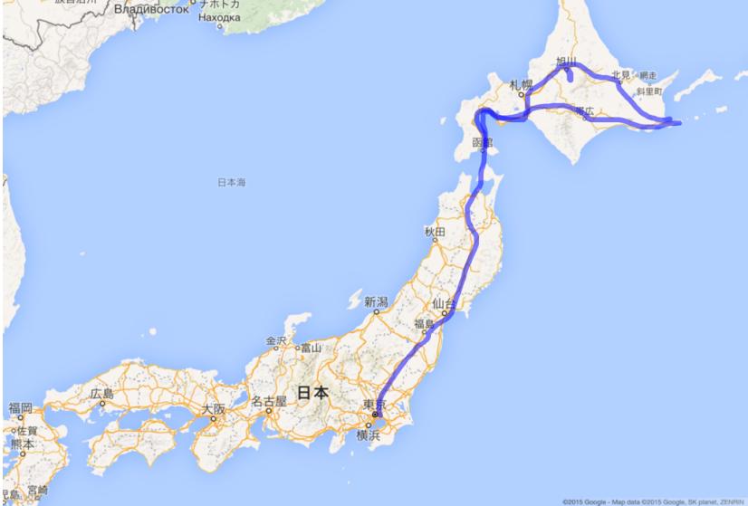 日本列島行程