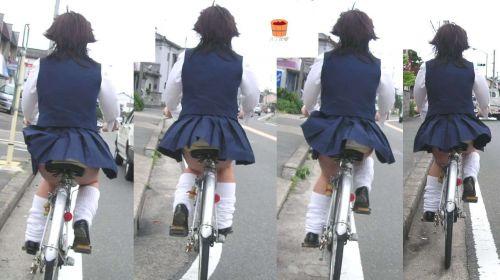 【盗撮画像】自転車通学中のJKは適当に歩いててもパンチラ見えてる説 41枚 No.32