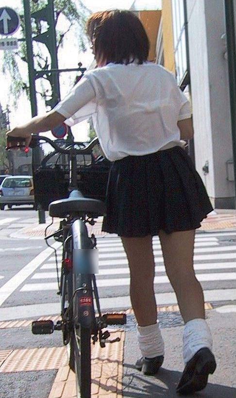【盗撮画像】自転車通学中のJKは適当に歩いててもパンチラ見えてる説 41枚 No.39