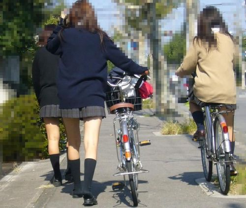 【盗撮画像】風が吹いたらパンチラしちゃう自転車通学JK画像 41枚 No.6