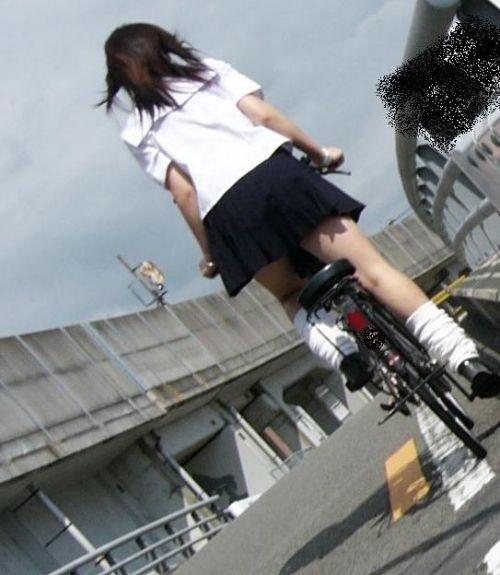 【盗撮画像】風が吹いたらパンチラしちゃう自転車通学JK画像 41枚 No.15