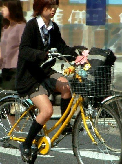 【盗撮画像】風が吹いたらパンチラしちゃう自転車通学JK画像 41枚 No.24