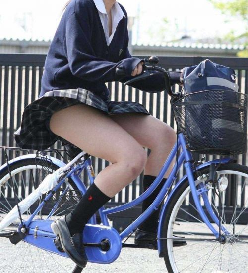 【盗撮画像】風が吹いたらパンチラしちゃう自転車通学JK画像 41枚 No.31