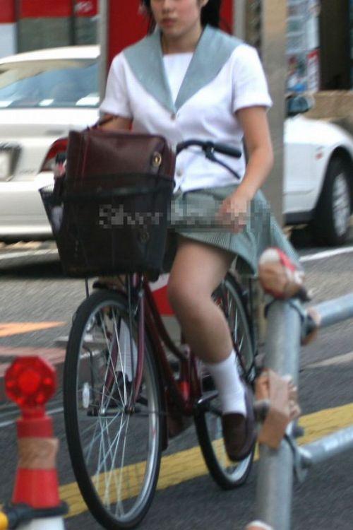 【盗撮画像】風が吹いたらパンチラしちゃう自転車通学JK画像 41枚 No.33