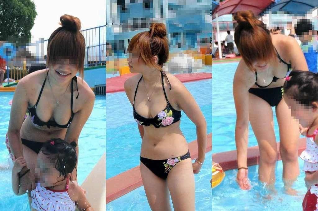 プールの子連れお母ちゃんが欲求不満でお乳がポ少女しそうなえろ写真 45枚