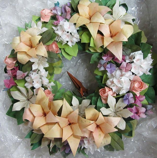 折り紙お花のリース 27.12.25