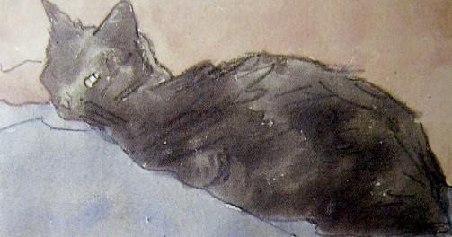グエン・ジョン 青とバラ色の上のネコ (2)