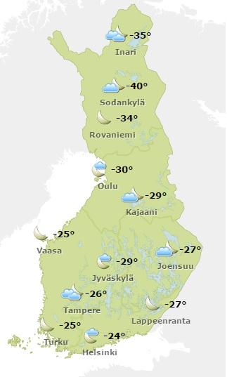 Sää 07_01_2016 天気予報 2016年1月7日 フィンランド