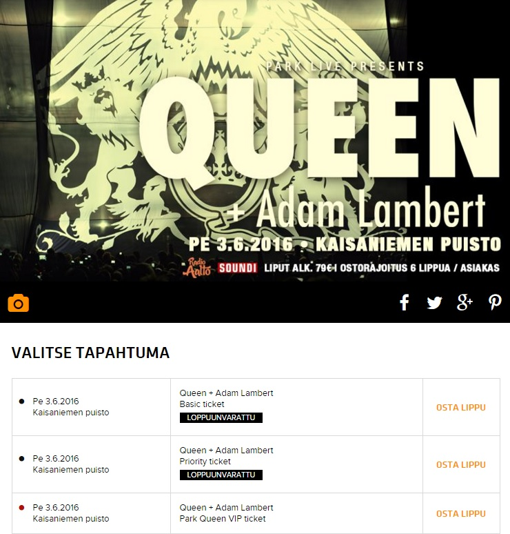 Queen Adam Lambert Helsinki Ticket QAL