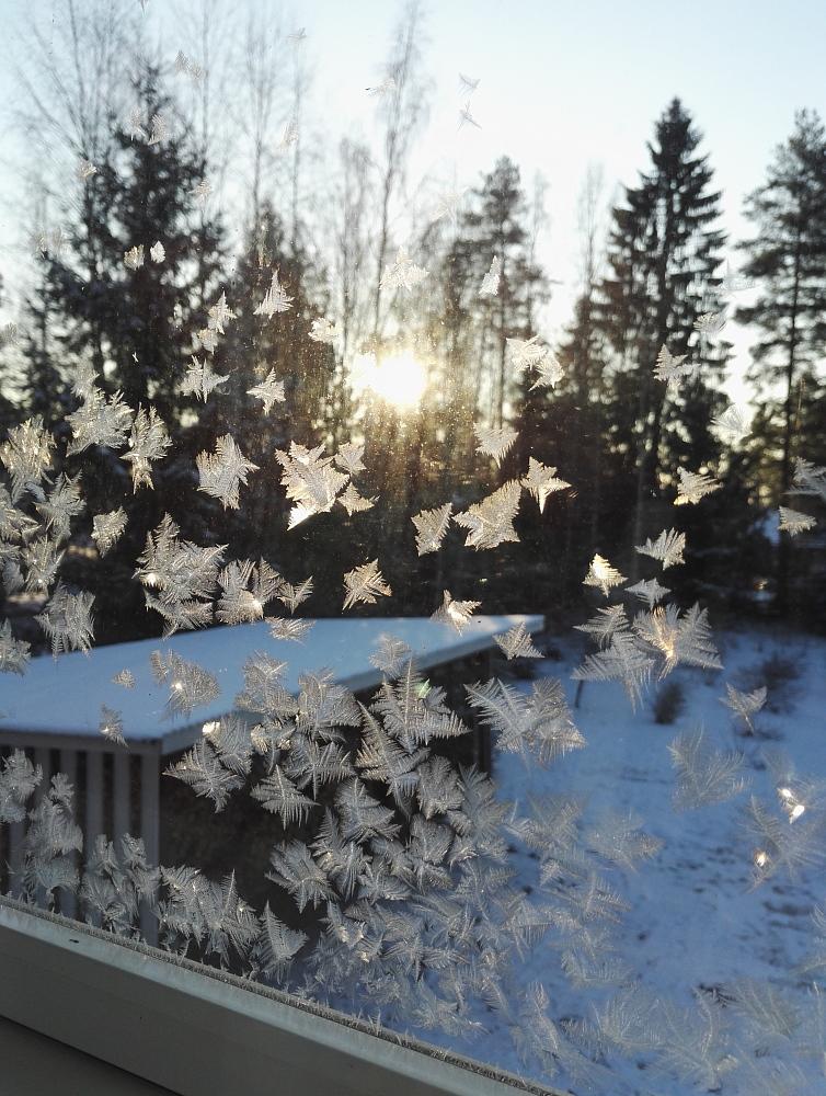 窓ガラス 氷点下 マイナス気温 氷の結晶 フィンランド