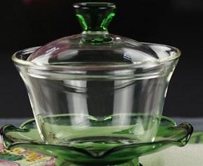 緑色ガラス蓋碗