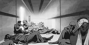 廊下に溢れる負傷兵