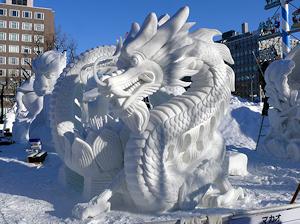 マカオチームの雪像