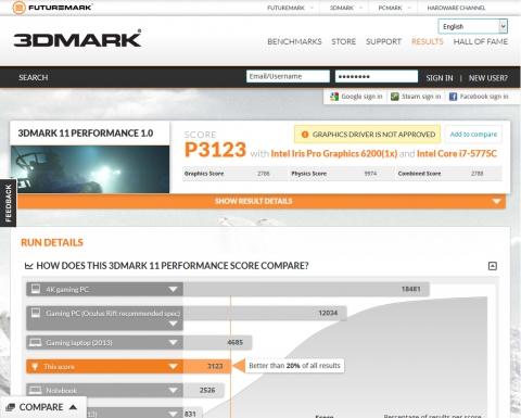 Core i7 5775C 3DMark11