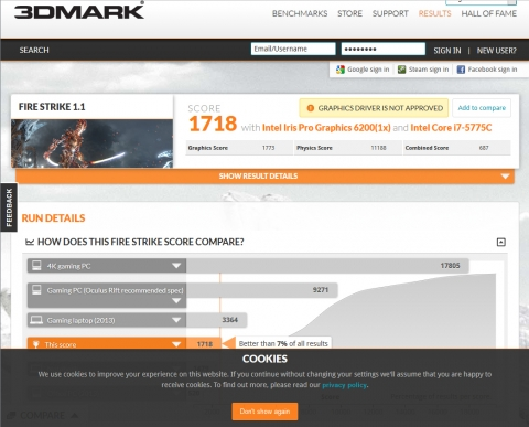 Core i7 5775C 3DMark FireStrike