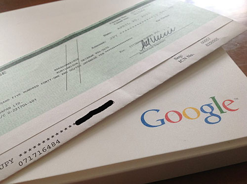 グーグル 小切手