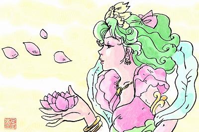天女と蓮の花びら