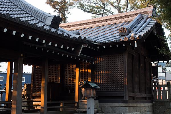 西日の当たる拝殿