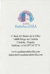 tarjeta de Hotel Casa Banos de la Villa