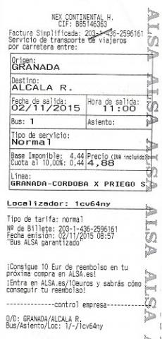 Granada-Alcala autobus