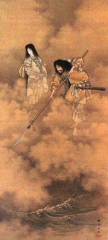 天瓊を以て滄海を探るの図(小林永濯・画、明治時代) 伊耶那岐神(右)と伊耶那美神(左)