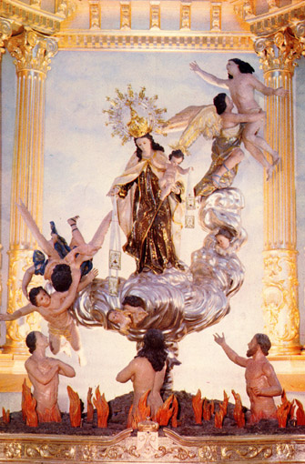 煉獄からの救済の想像図(中央に聖母像)