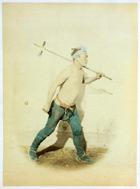 フェリーチェ・ベアトによる飛脚の着色写真(1863年-1877年頃)