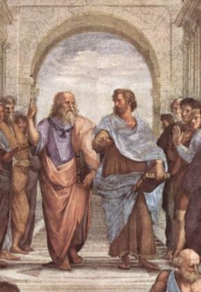 プラトン(左)とアリストテレス(右)