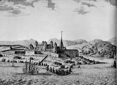 1688年のエルミナ城。この城砦から多くの奴隷が南北アメリカ大陸に連行されていった。
