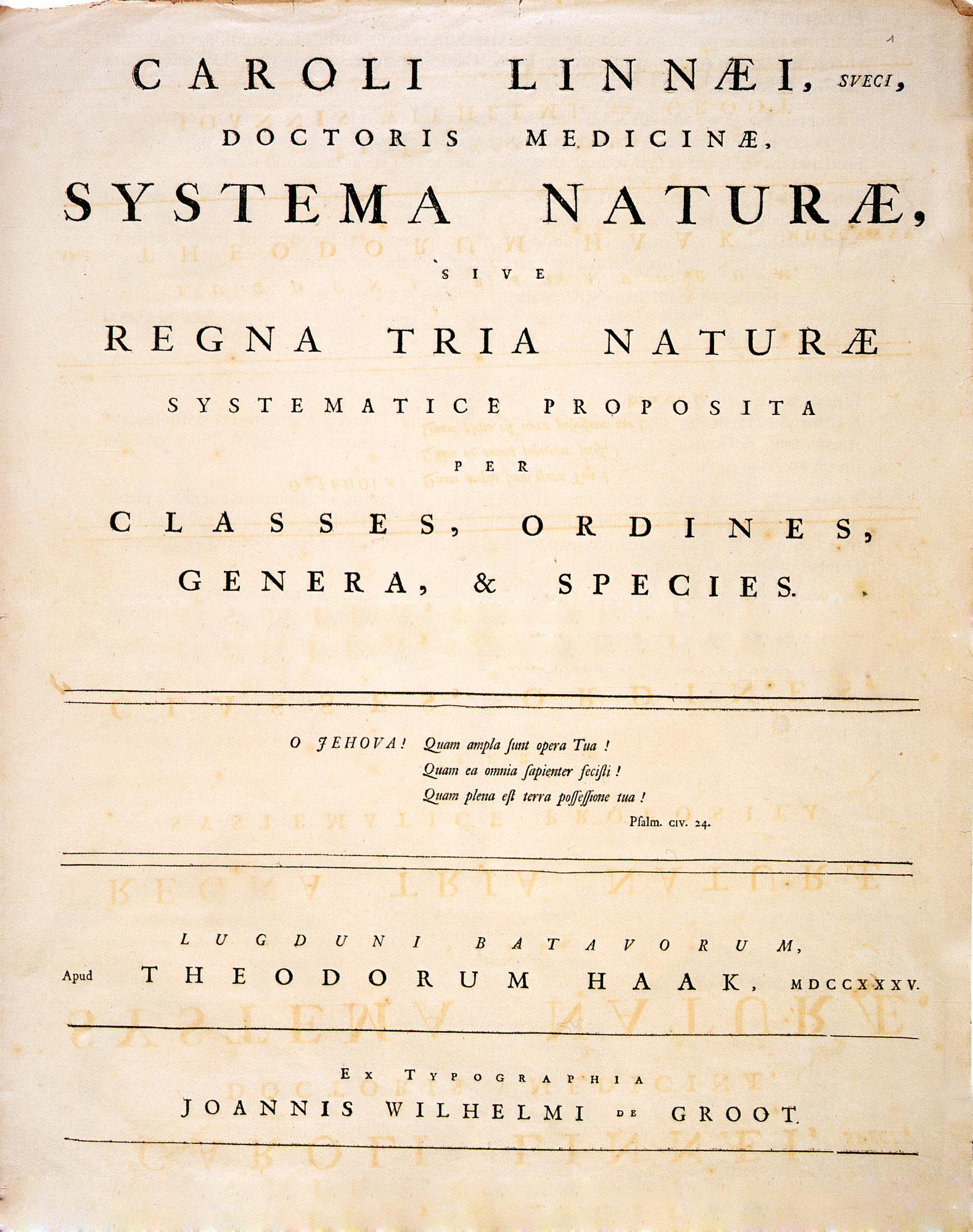 1735年に出版した『自然の体系』(Systema Naturae)