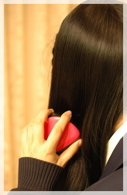 娘が髪を梳かす2