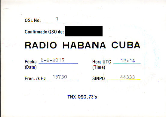 2015年6月2日 スペイン語放送受信 Radio Habana Cuba(キューバ)