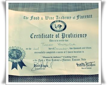 Italycookingschool、certificate
