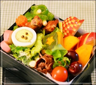 柿&チェリー&アップル付き弁当