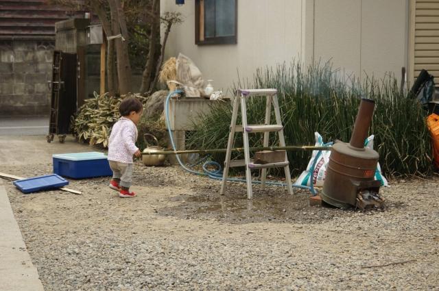 風呂釜システムの確認中と子供