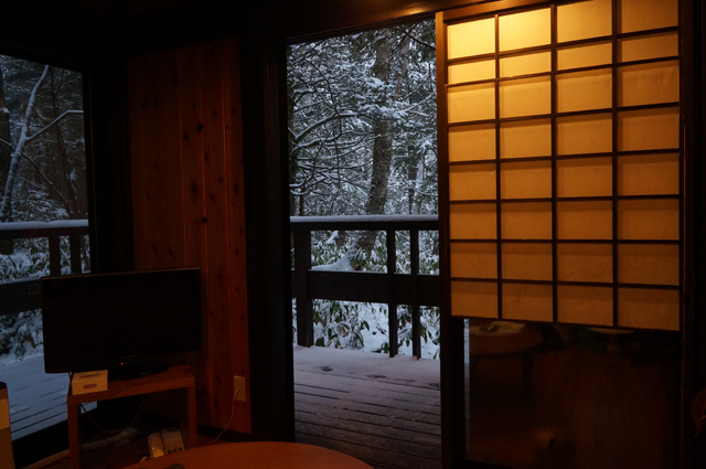 硫黄泉付客室から見える雪景色