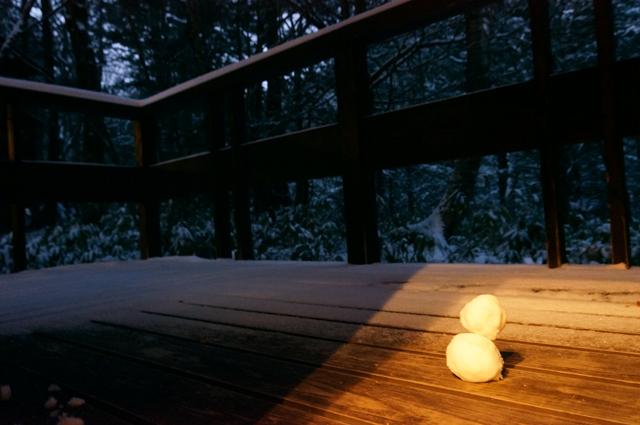ひらゆの森 コテージ 庵 雪だるま