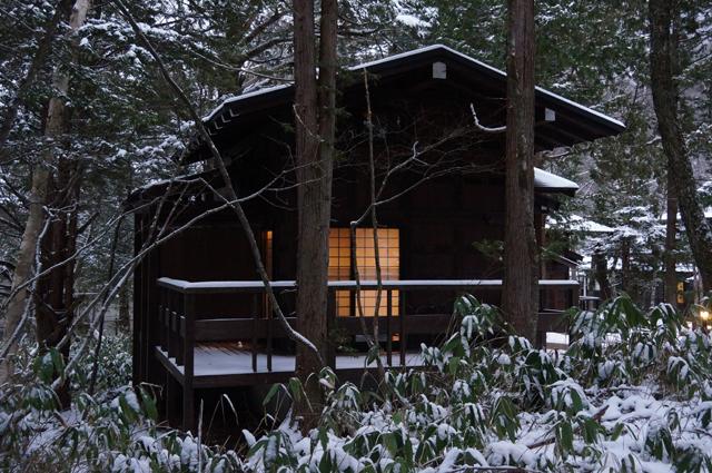 雪の中のひらゆの森 松造庵