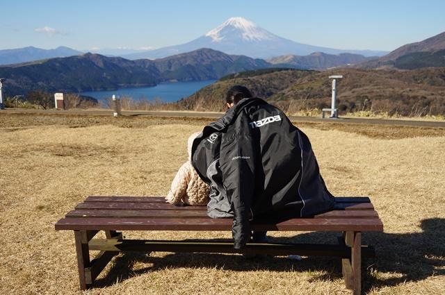 芦ノ湖 富士山 家族