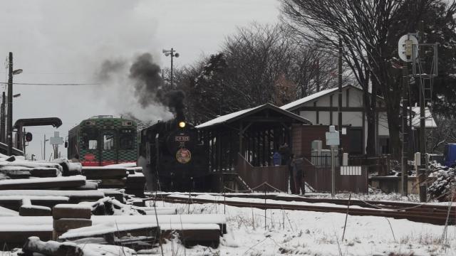西田井駅の発車シーン、煙と水蒸気をご覧ください 3