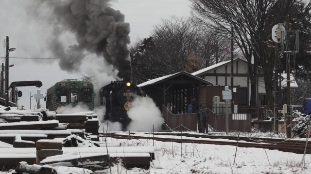 西田井駅の発車シーン、煙と水蒸気をご覧ください 7