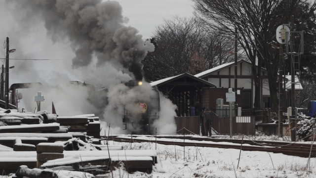 西田井駅の発車シーン、煙と水蒸気をご覧ください 6