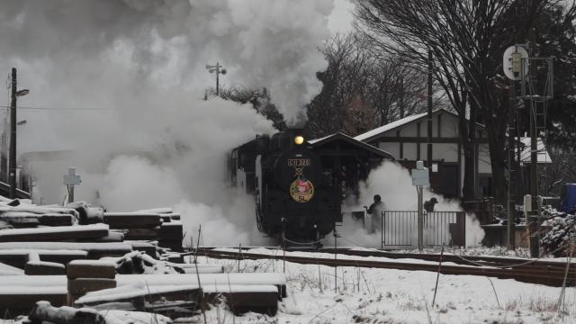 西田井駅の発車シーン、煙と水蒸気をご覧ください 1