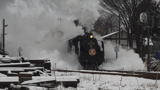 西田井駅の発車シーン、煙と水蒸気をご覧ください 2