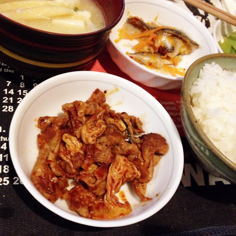 ラム肉キムチ炒め定食