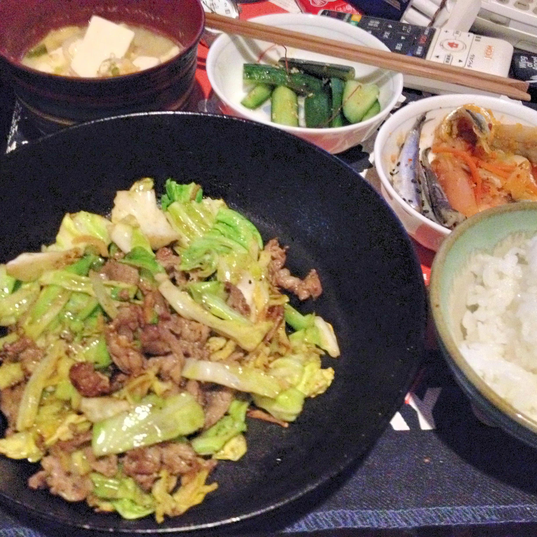 ラムキャベツ炒め定食