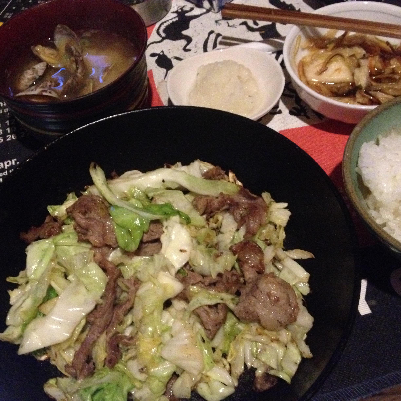 ラム肉キャベツ炒め定食