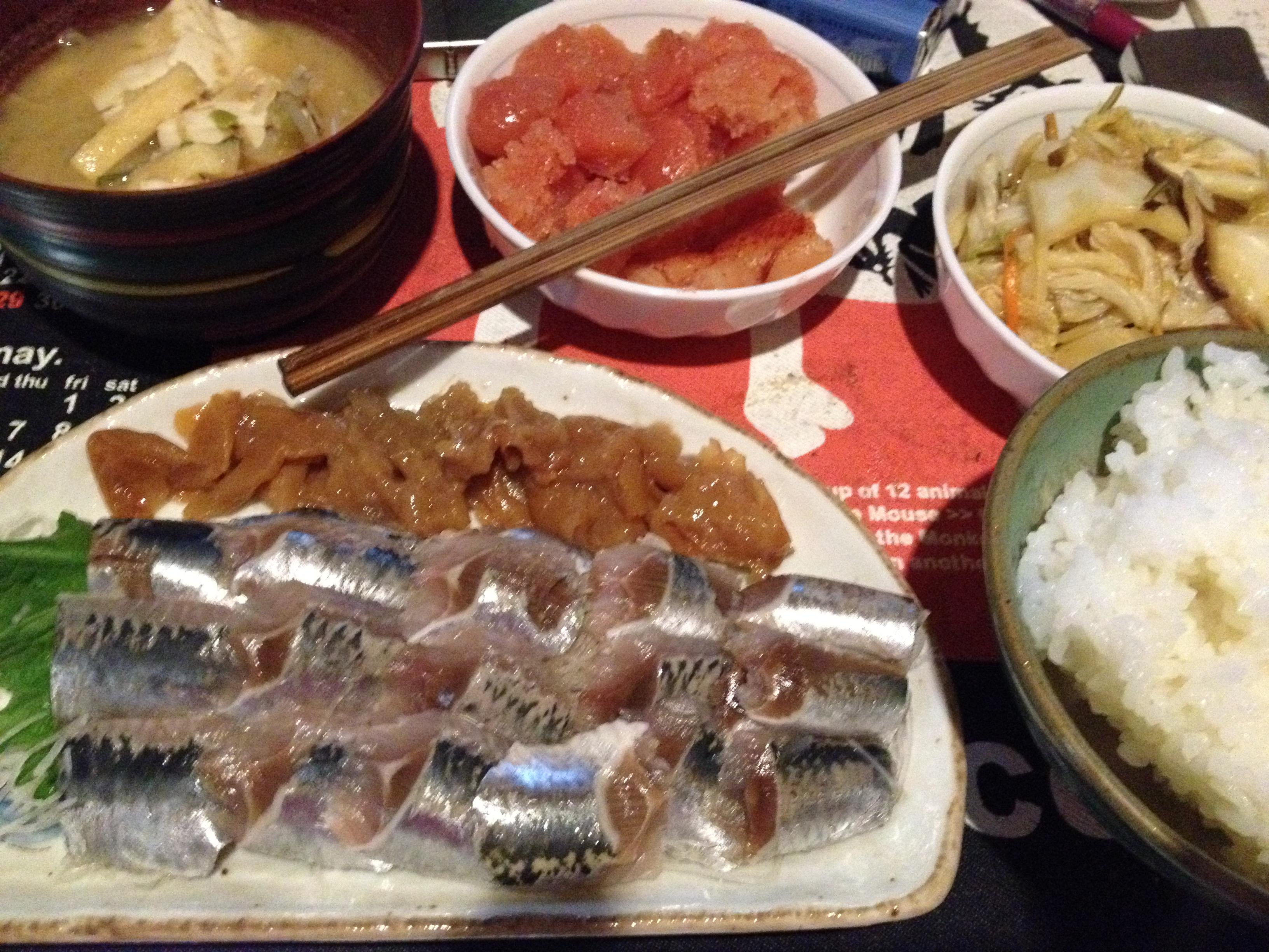 鰯刺身梅肉添え定食